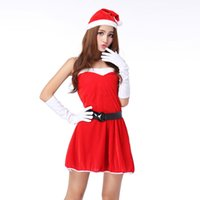 Wholesale Christmas Hat Adult - 2015 New Arrival Happy Christmas Adults Women Red Clothes with Santa Claus Hat Xmas Women Sexy Costumes Set