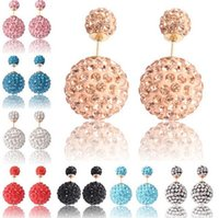 shamballa earrings - Shamballa Crystal Paved Ball Stud Earring Big And Small Two End Women Fashion Earring studs