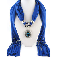 scarf pendants - Pendant scarf jewelry with beads Mixed Design Colorful Scarves Charms Cross Necklace Via DHL