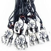 carved bone beads - Jewelry Ethnic Amulet Yak Bone Carved Lucky Elephant Charm Pendant Wood Beads Adjustable Necklace MN230