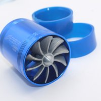 best air filters - Best selling High Quality Universal F1 Z Supercharger Turbo Air Intake Fuel Saver Fan Double Propeller Blue Intake air filter