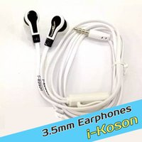 Cheap in-ear 3.5mm i-koson Earphone earphones headset Hands-free with mic control for iPhone Samsung smart phone