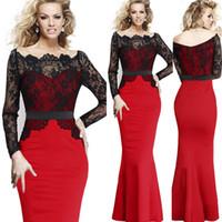 Wholesale 2015 Women New Fashion Slash Neck Floor Length Long Sleeve Lace Splicing Fishtail Party Dress Bodycon Dress S XXL
