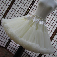 ruffle yarn - Plus Size Petticoats Double Layer Pettiskirts Bridesmaid Girls Crinoline Petticoats Bridal Over Skirt Colorful Underskirt Crinoline Slip