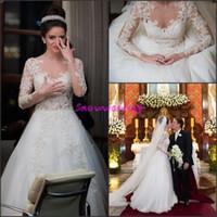 Wholesale 2016 Bohemian Romantic Lace Plus Size Wedding Dresses Appliques Long Sleeves A Line With Beads Button Back Bridal Gowns Vestidos De Noiva
