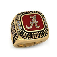 championship ring - 2016 fashion sports Ring jewelry Alabama fans national championship ring gold plated crystal diamond crimson tide team rings for men