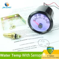 Wholesale 2inch mm Water Temperature Gauge Black With Sensor Blue LED For Car Meter Auto Gauge Water Temp temperature Gauges
