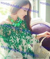 Cheap Split Blouses Woman Sexy Crochet Tops Ladies Chiffon Blouses Woman Blouses Loose Blouse Leaves Printing Long Sleeve Size M-XXL