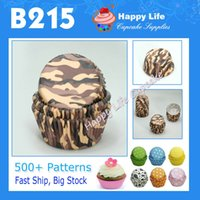 Wholesale B215 Camouflage Color Design for Party Supplies Cupcake Cases Muffin Paper Cups Decorative Cupcake boxes