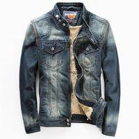 color jeans - Plus New jeans jacket for men Fashion motorcycle jeans short jacket do old jeans denim coat