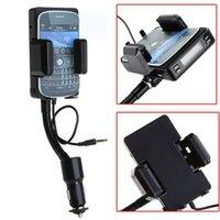 Wholesale 3 mm Mini LCD FM Transmitter Hands Free Car Holder HandsFree car kit for BlackBerry Android Smartphone mobile