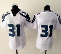 Cheap New Seahawk #31 White Women's American Football Jerseys Authentic Football Uniforms Cheap Sportswear Allow Mix Order