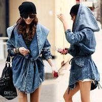 2015 style de célébrité manteaux Manteau Femmes Lady jean Denim capuche Hoodie d'hiver manteaux machaon taille élastique denim de tranchée