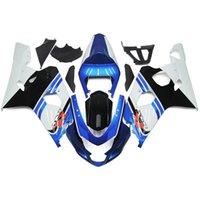 Precio de Suzuki gsxr750 fairing-Los carenados completos para Suzuki GSXR600 GSXR750 04 05 K4 Sportbike ABS de la motocicleta kit del carenado de la carrocería Motor Carenados Corona Azul Blanco