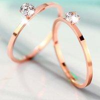 Acheter Bague de fiançailles en titane or-18 k rose doré plaqué contrecollé mode unique diamant naked cristal anneaux de fiançailles pour les femmes en acier de titane bijoux