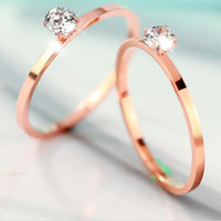Cheap 18 k rose gold plated contracted fashion single diamond naked crystal female ring engagement rings for women titanium steel jewelry