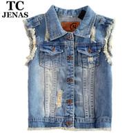 Wholesale TC Plus Size Brand High Qualtiy Women New Summer Sleeveless Ripped Holes Button Casual Jeans Denim Vest Tops XL XL XL