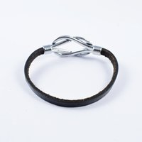 Wholesale New arrival men s vintage stainless steel clasp classic black leather rope bracelet bangle SB0796