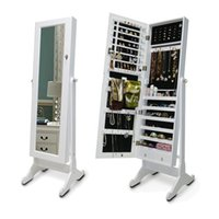 Wholesale Wooden Mirror Jewelry Armoire Storage Cabinet Cosmetic Organzer Home Furniture USA Warehouse