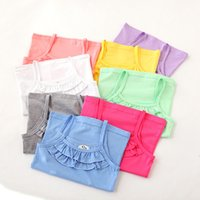 Wholesale 2015 New Arrival Baby Girl Summer Candy Colors Lace Tank Top Sleeveless Cotton T shirt Vest B647