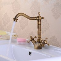 Wholesale Kitchen Faucet Antique Brass Degree rotating Swivel Bathroom Basin Sink Mixer Tap Double Handle HJ F