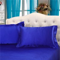 Wholesale silk pillowcover cm pillowcase standard pillowslip luxury satin silk sleep pillowcover golden white blue