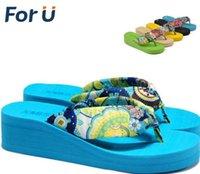 Wholesale Women Sandals New Summer bohemia flower Women flip flops Platform Wedges Women Sandals slippers beach shoes size