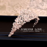 Wholesale Luxury European and American wind is pure manual bride diamond hair hoop crown crown jewelry crystal decoration