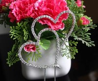 Wholesale BLING INITIAL Double Hearts Diamante Rhinestone Crystal Letter Cake Toppers For Wedding Party Decoration