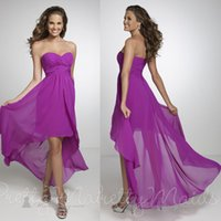 Ruffle beach wedding dress guest - New Arrival High Low Purple Bridesmaid Dresses Chiffon Maternity Wedding Guests Dress Sweetheart Plus Size Evening Gown Beach B1945
