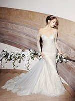 vogue wedding dress - Vogue sheer neck mermaid wedding dresses with applique and illution back bridal gowns removable long tail full sleeves wedding dresses
