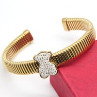 Bangle bangles pattern - 316L Stainless Steel Snake Pattern Bear Full CZ Stones Cuff Bangle jewelry for Women SB01514