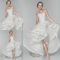 asymmetrical neckline dress - Unique Organza Hi Lo Ball Gown Wedding Dresses Spring Summer Sweetheart Neckline Beaded Bow Knot Fashion Beach Garden Bridal Gown Cheap