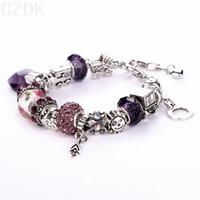 snake bracelet - AA Luxury Silver Charm Bracelet Bangle for Women With Crystal Heart Pandent DIY Snake Chain Gift