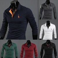 100% Cotton cotton shirt - 2014 Autumn New Polo Shirt For Men Fawn Embroidery Luxury Casual Slim Fit Stylish T Shirt With Long Sleeve Colors Size