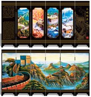 wall dividers - Oriental Chinese Traditional Golden Lacquer Folding Room Screen Divider The Great Wall Qingming Scroll