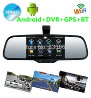 "Cheap 5"" Android 4.0 dual-lens camera Car Rear view mirror Car DVR Bluetooth Wifi HD night vision Rear View camera GPS function MP4 5 Car DVR Card"