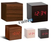 Wholesale New and high quality Wood Crafted Digital Led Display Time Temperature Alarm Cube Alarm Battery Clock Sound Control