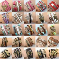 anchor jewelry - 125 Designs Leather Bracelet Antique Cross Anchor Love Peach Heart Owl Bird Believe Pearl Knitting Bronze Charm Bracelets jewelry DR