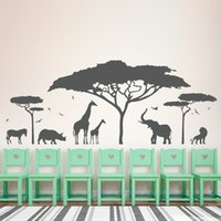 african art kids - African Safari Animal Wall Sticker Tree Wall Decal Nature Giraffe Wall Art Nursery Decor