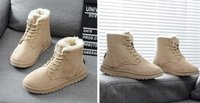 Wholesale Women students leather plush snow boots fashion winter warm Casual Shoes vintage lace up flat sports ankle boots drop shipping