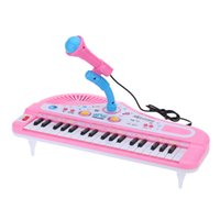 Wholesale 37 Keys Cartoon Mini Electronic Keyboard Music Toy with Microphone Educational Electone Piano Toy Gift for Children Kids Babies
