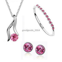 Wholesale Top fashion silver plated pendant necklace Austrian crystal earrings and bracelet women jewelry sets z095