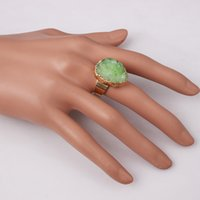 wholesale china - 7 Color styles Top Selling Colorful Natural Stone Gold Plated Rings Druzy Drusy Agate Crystal Ring For Women Statement Necklace Jewelry