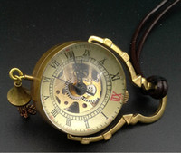steampunk pocket watch - Gold Brass Crystal Ball Steampunk Skeleton Mechanical Necklace Pocket Watch Men Lady Vine Luxury Handmade Pendant Ornament Chain Watches