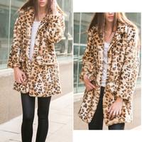 Wholesale 2014 New Fashion Women Hairy Shaggy Faux Rabbit Fur Leopard Pattern Jackets Long Cardigan Coat Outerwear SUPER QUALITY
