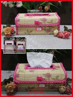 Wholesale Environmental bamboo made tissue box lace decorated rose printing storage napkins box or household table decorate accessories