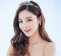 Cheap New 2015 Golden Rhinestone Bridal Headpiece Crystal Tiaras For Wedding Bridal Crowns Bride Hair Accessories Cheap Rainbow color crown