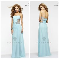 Cheap Classical Strapless Chiffon Aqua Prom Dresses 2015 Rhinestones Hollow Out Size Waist Formal Prom Evening Gowns Sequin Beaded Floor Length