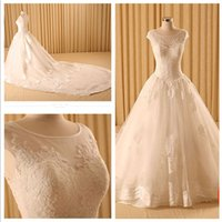 Cheap High-end Cathedral Train A-Line Wedding Dresses 2015 New Summer Applique Lace Transparent Back Bride Dresses 100% Real Image Wedding Gowns